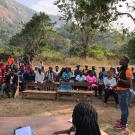 Community engagement meeting in Kakoya village, Sierra Leone
